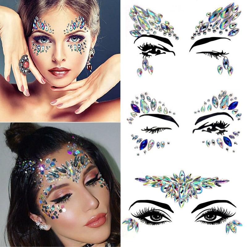 Diy Eyebrow Face Body Art Crystal Glitter Jewels Christmas Festival Party Eye Mermaid Adhesive Tattoo Stickers Makeup Xmas Decor Body Glitter Aliexpress
