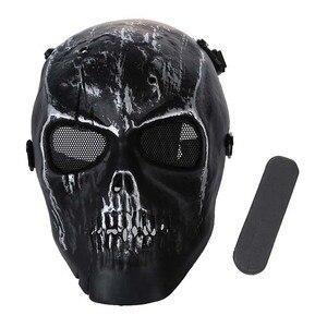 Image 5 - Leger Schedel Skelet Airsoft Paintball Bb Gun Full Face Game Bescherm Safe Mask Zilver Zwart