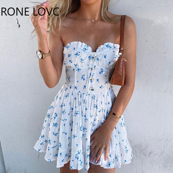 Women Elegant Fashion Sexy Floral Print Bandeau Frill Hem Dress Mini Dress Summer Party Dress