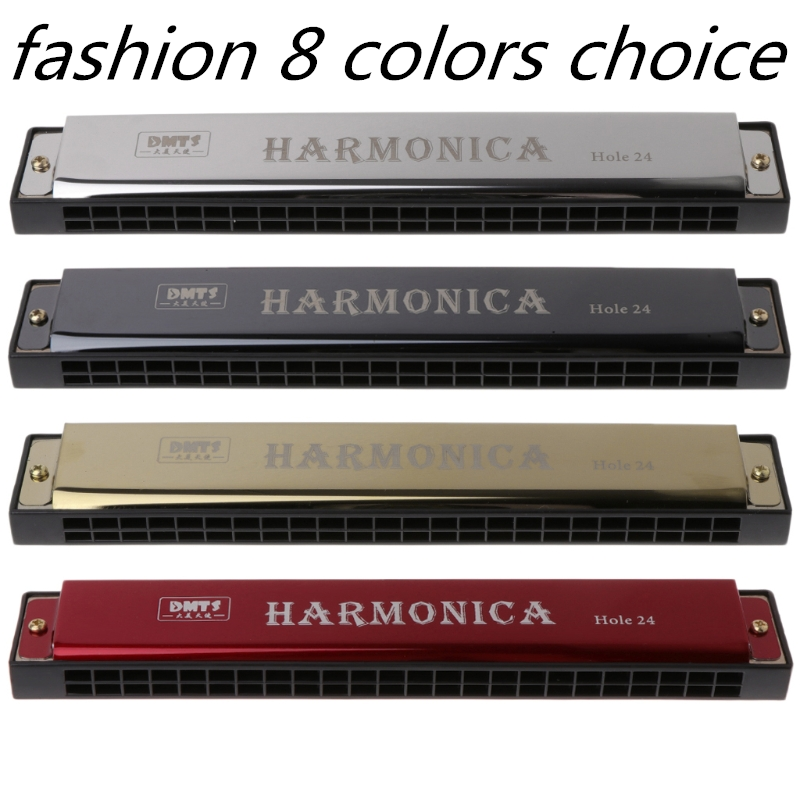 Professional 24 Hole Harmonica C Key Metal Harmonica Woodwind Instrument For Beginners kids adults 8-Color support Dropshipping