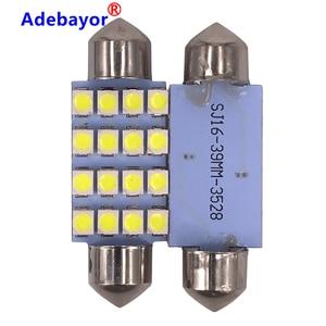 Image 2 - Dôme de voiture, 100X 39mm c10w 3528 16SMD LED, blanc bleu, ampoules pour lintérieur de voiture, plaque dimmatriculation LED