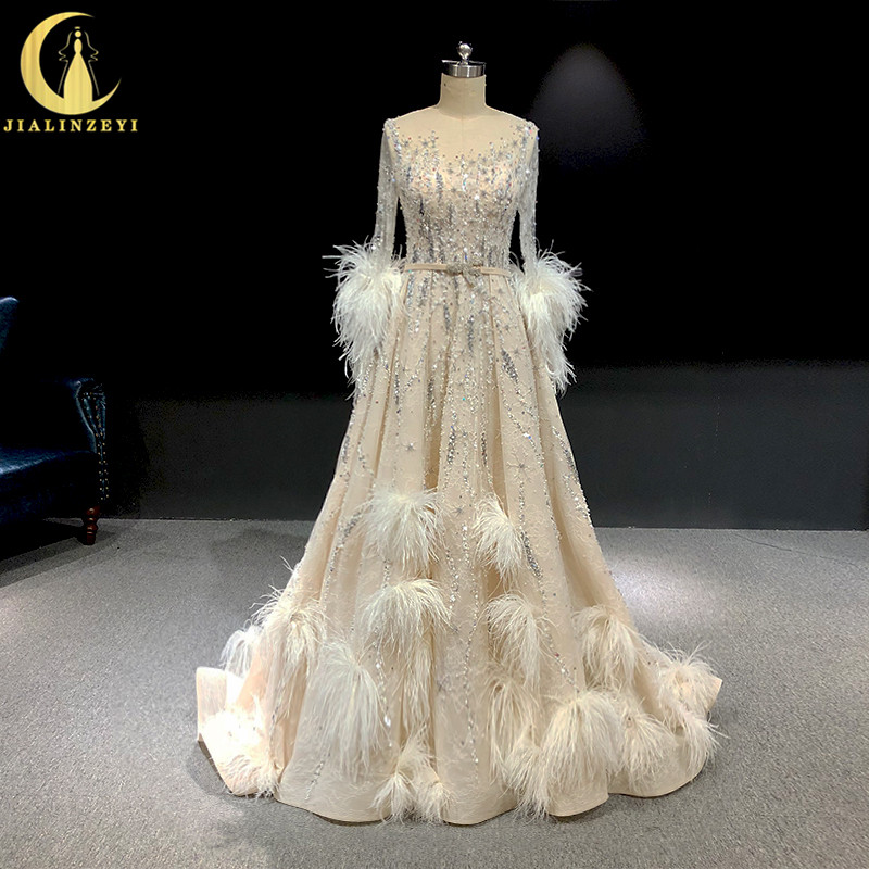 Rhine Real Pictures Long Sleeves With Feathers Crystal A-line High Quality Hot Sale Formal Dresses Fashion Dress Evening Dresses