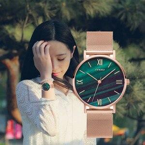Image 5 - SINOBI basit kadın bilek saatler altın kordonlu saat takvim en lüks marka kristal kuvars saat bayanlar kol saati reloj mujer