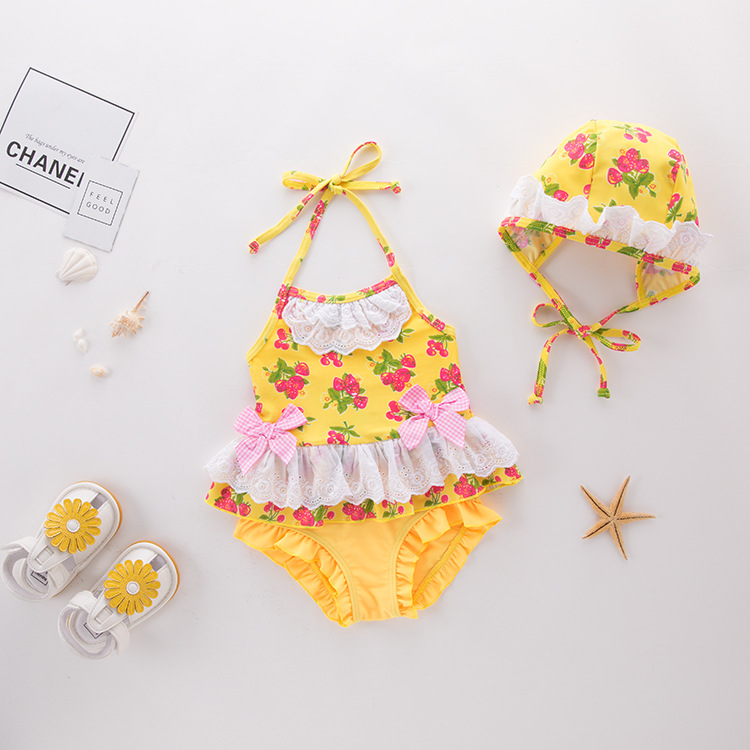 Girl'S One-piece Swimming Suit Yellow Strawberry Sling Children Hot Springs Bathing Suit
