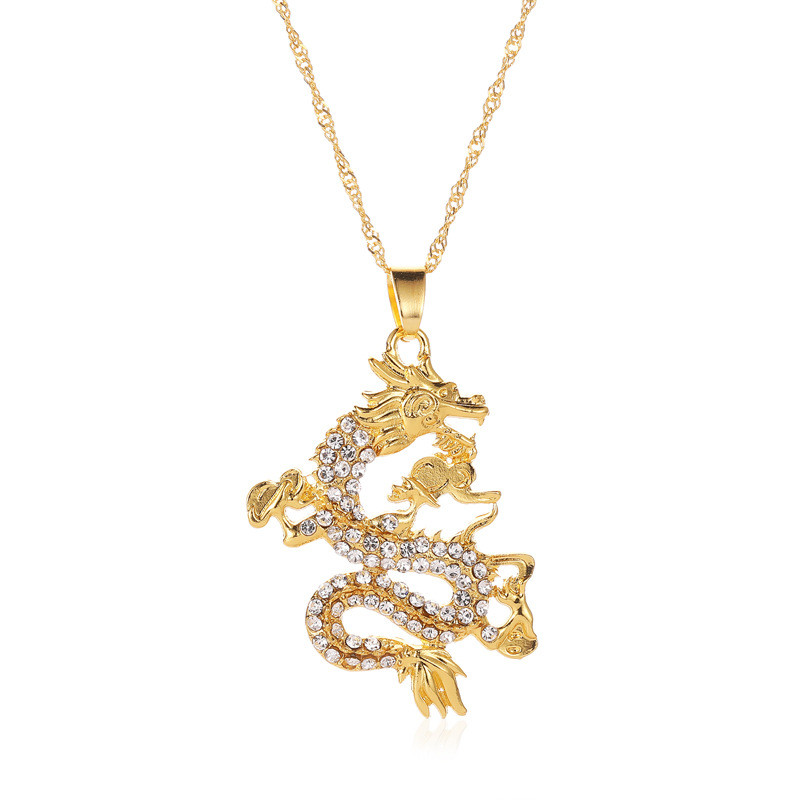 Woozu 2019 CZ Dragon Pendant Necklaces For Women Men Gold Color Jewelry Cubic Zirconia Mascot Ornaments Lucky Symbol Gifts(China)