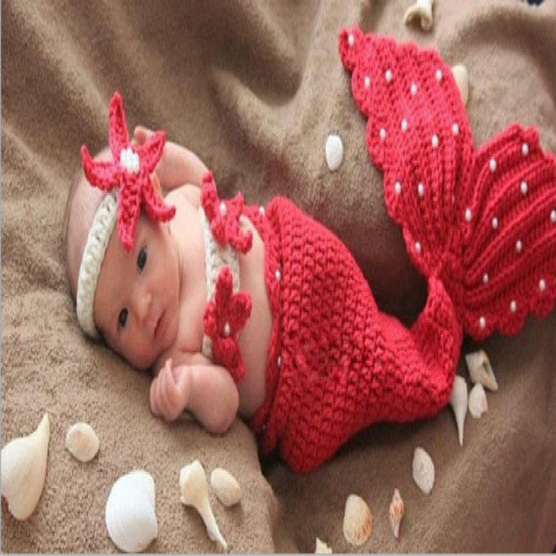 Hot Sales Baby Handmade Photography Clothing Hand-woven Baby Mermaid Set Baby Girls