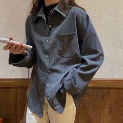 Camisa de mujer Otoño e Invierno 2019 nuevo estilo de un solo pecho estudiantes de estilo coreano suelta Retro Polo cuello camisa de Color sólido C