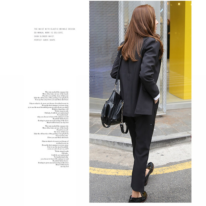 Womens Blazer Suit 2020 New Elegant Office Work Wear Pant Suits 2 Piece Sets Solid Blazer Jacket Trousers Suit Women Set Femme