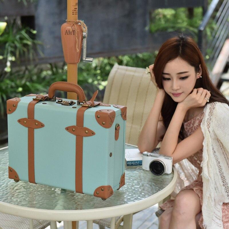 CHENGZHI 16 pouces Vintage PU valise en cuir femmes continuent sac à bagages ultra-léger étui à cosmétiques pour les filles