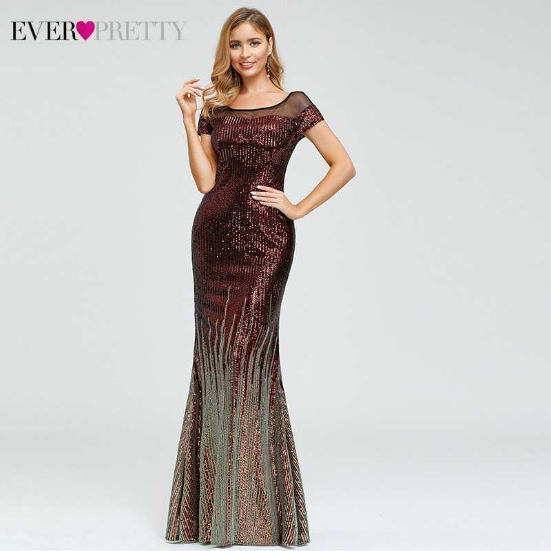 Saudi Arabia Mermaid Evening Dresses Ever Pretty Sequined O-Neck Short Sleeve Luxury Sparkle Evening Gowns Abiye Gece Elbisesi
