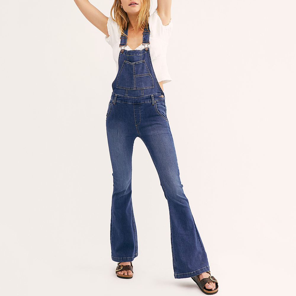Women Flare   Jeans   Denim Bib Pants Overall High Street Ladies Jumpsuits Vintage Dungarees Female   Jean   Jumpsuit Denim Trousers D40