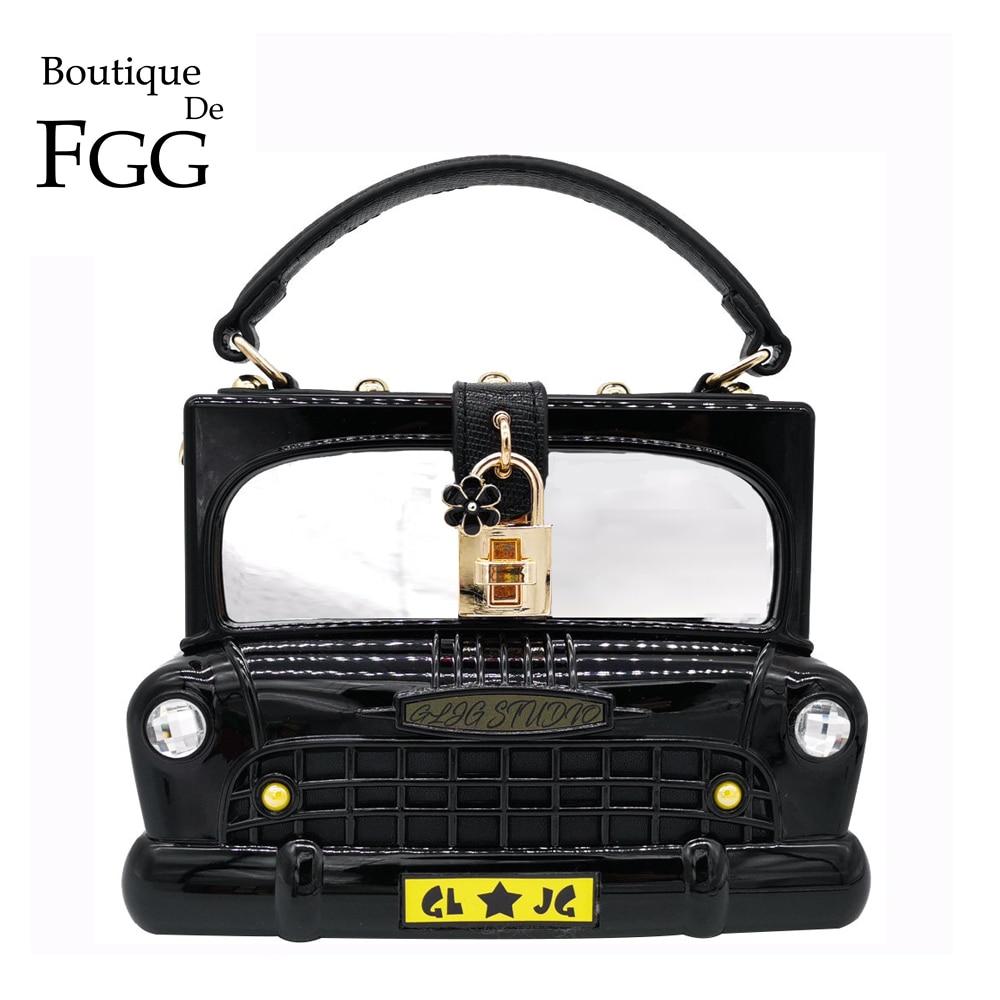 Forma do Carro Boutique de Fgg Bolsas de Ombro Bolsas das Senhoras Bolsas de Embreagem Mulheres Acrílico Moda Bolsas Bolsa Crossbody &