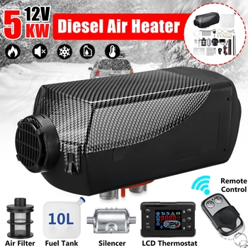 12V 5KW Car Diesel Air Parking Heater LCD Remote Control Monitor Switch Silencer for Trucks Bus Trailer Boat Heater 5000W