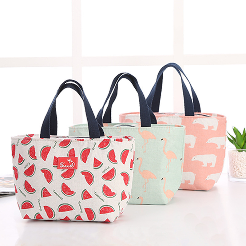 1PC Functional Pattern Cooler Lunch Box Portable Insulated Canvas Lunch Bag Thermal Food Picnic Lunch Bags For Women Kids