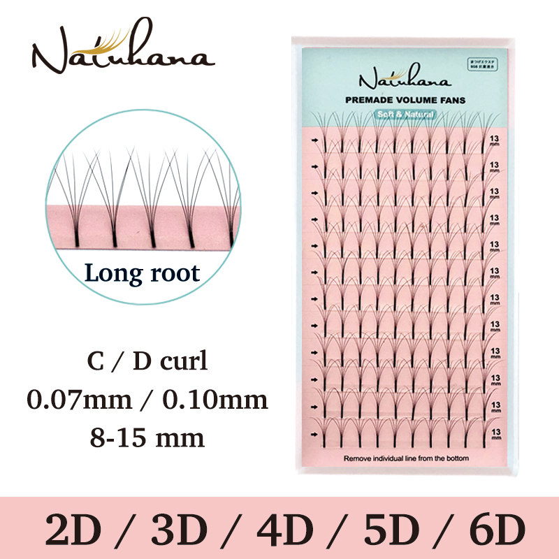 NATUHANA 2D 3D 4D 5D 6D Long Stem False Lashes Premade Russian Volume Fans Faux Mink Premade Fan Eyelash Extensions Makeup Cilio