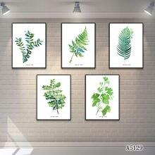Абстрактная картина маслом Печать на холсте 5 шт зеленый лист