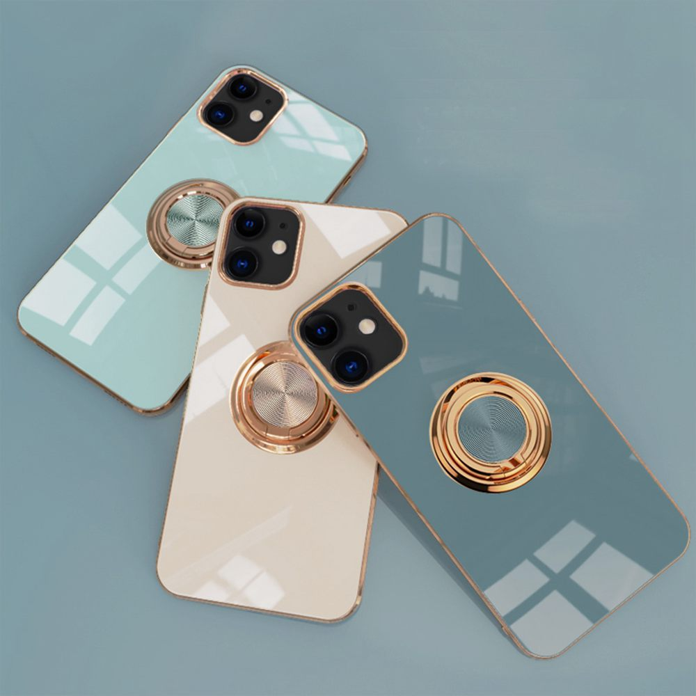 6D Plating Gold Frame Soft TPU Ring Stand Case for iPhone 12 Pro