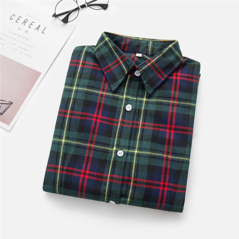 2020 New Women Blouses Brand New Excellent Quality Cotton 32style Plaid Shirt Women Casual Long Sleeve Shirt Tops Lady Clothes 32