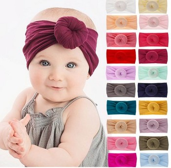 2019 Brand New 0-6Y Newborn Infant Kids Girls Nylon Bow Hairband Headband Stretch Turban Knot Head Wrap Headwear Gifts 21 Colors image