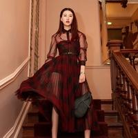 HIGH QUALITY Newest Paris Fashion 2020 Designer Dress Geometric Print Pleated DRESS