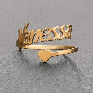Персонализированные Индивидуальные сердца кольцо пользовательское имя Регулируемые кольца инициалы ювелирные изделия для женщин мужчин ...