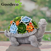 Goodecoソーラーガーデン像カメ屋外亀の置物の装飾多肉植物ledライトジャルダンヤード置物 & ミニチュア