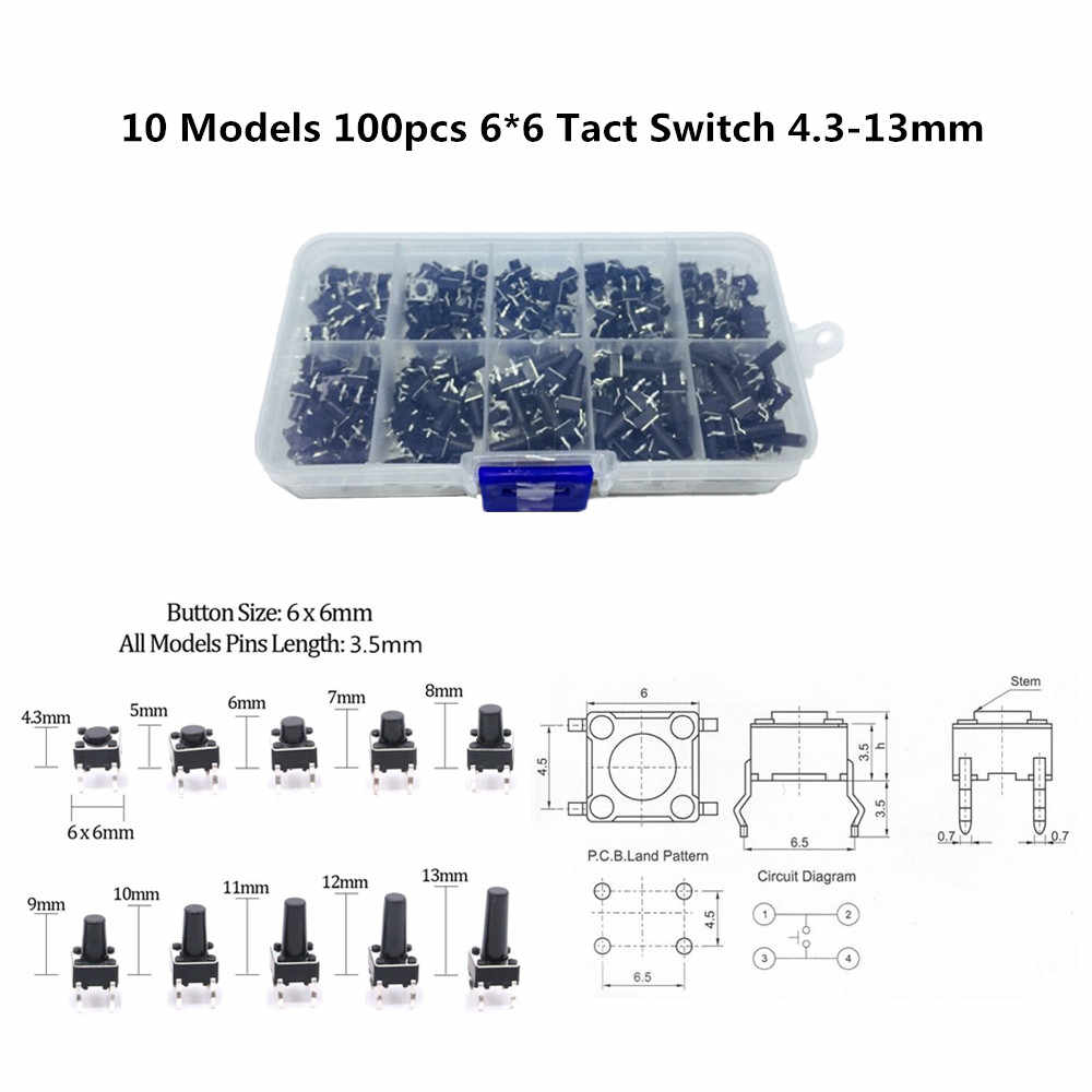 10pcs DC12V 6*6*5mm Tactile Push Buttons Switch Tact Switch for Arduino 4P DIP