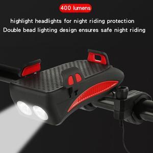 4 в 1 велосипедный светильник флэш-светильник велосипедный сигнал руля держатель для телефона Велоспорт включая мобильную мощность 2000/4000 мА...