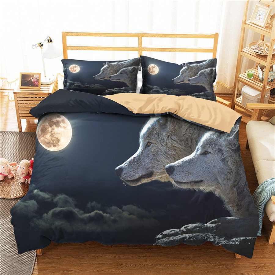 A Bedding Set 3D Printed Duvet Cover Bed Set Wolf Home Textiles For Adults Bedclothes With Pillowcase #L19