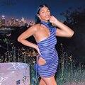 Модное летнее элегантное женское платье Nibber на одно плечо 2021 женское вечернее пикантное повседневное мини-платье в фиолетовую полоску для ...