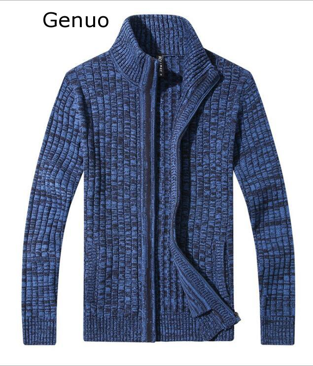 Genuo New 2020 Mens Cardigan Sweater Famous Brand Clothing Slim Fit Zipper Male Sweaters Top Quality Cardigan For Men