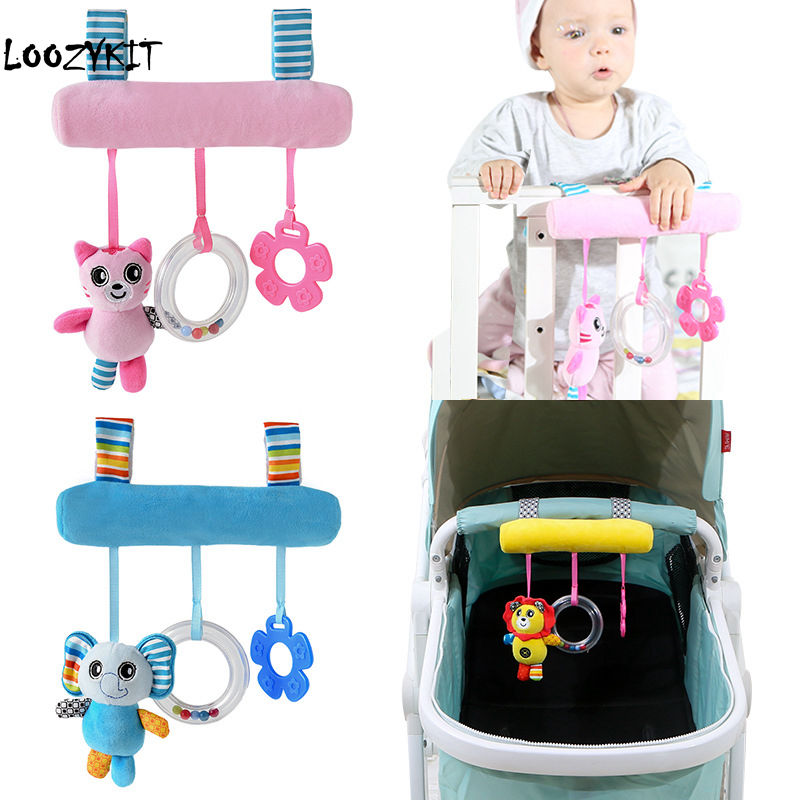 CYSINCOS Baby Kids Rattles Toys Cotton Stroller Accessories Hanging Plush Toys Animal Clip Baby Crib Bed Hanging Bells Toys