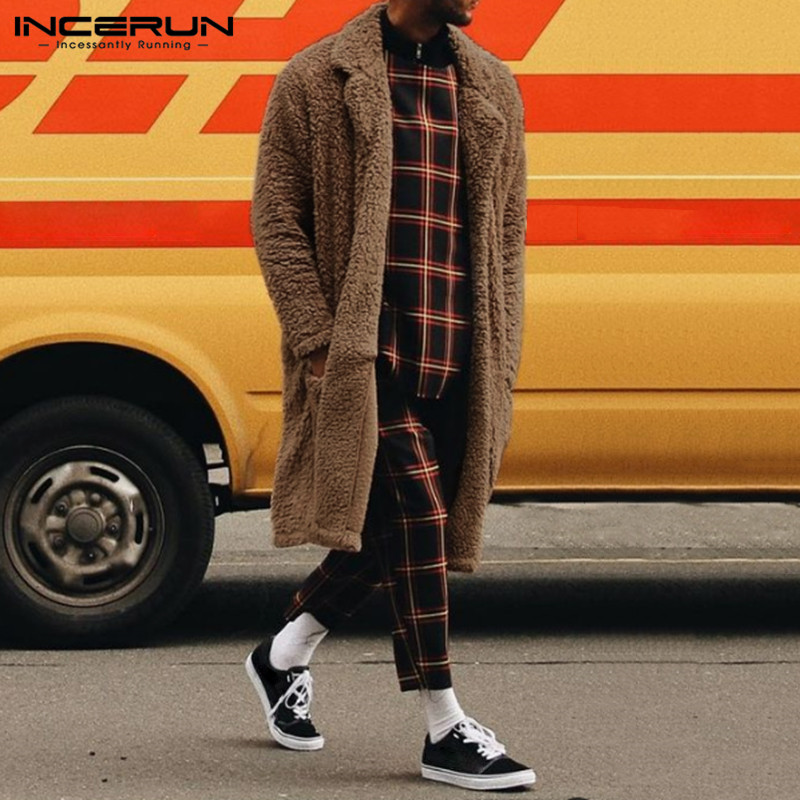 INCERUN Winter Fashion Men Trench Overcoat Solid Faux Fleece Outerwear Long Sleeve Streetwear Fluffy Cardigan Jackets Coats 2020