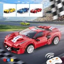 Controle remoto carro de corrida cidade app programação moc blocos de construção técnico rc carro esportivo modelo tijolos crianças meninos presentes brinquedos