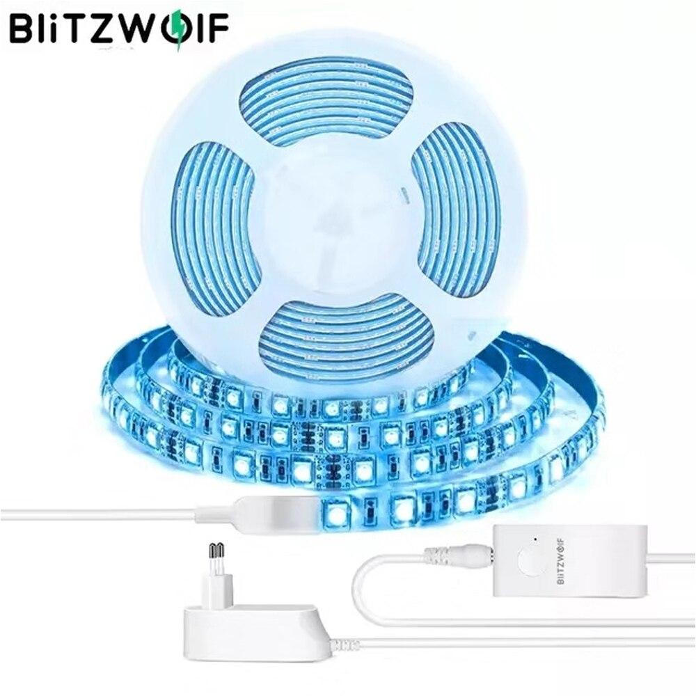 BlitzWolf BW-LT11LED Strip Light 2M / 5M DC 12V 2A 2.4G Wifi Smart APP Control 4000K RGBW LED Kits de tira de luz IP44 Luzes à prova d'água Luzes de trabalho da lâmpada com Amazon Alexa Google Assistant