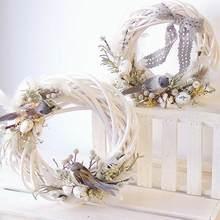 Guirlanda branco vime design redondo árvore de natal vime grinalda ornamento anel de videira decoração festa de casa pendurado flor artesanato