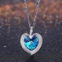 11/11 Q Pure 925 Sterling Silver Sparkling necklace for Women Girls Brilliant CZ Crystal Wedding Engagement Jewelry