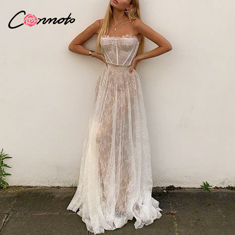 Conmoto Lace White Summer Sexy Maxi Dresses Women Beach Spaghetti Strap Backless Dress Plus Size Mesh Femme Long Dress Vestidos