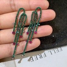 Luxury Elegant Green CZ Fashion Long Tassel Earrings for Women Korean Jewelry