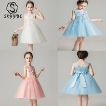 Skyyue Girl Pageant Dress Appliquie Lace Flower Tulle Flower Girl's Dresses for Wedding O-neck Bow Communion Gowns 2019 DK2918 skyyue girl pageant dress lace ruffles crystal tulle flower girl s dresses for wedding o neck bow communion gowns 2019 736