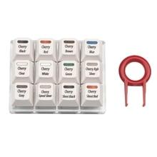 Keycaps Herramienta de prueba Cherry 12 MX, juego de probador de teclado, teclas transparentes, Teclado mecánico PCB