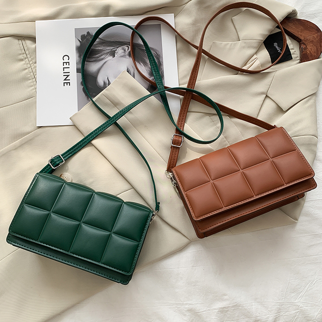 2021 Solid Color Fashion Shoulder Handbags Female Travel Cross Body Bag Weave Small PU Leather Crossbody Bags For Women 1