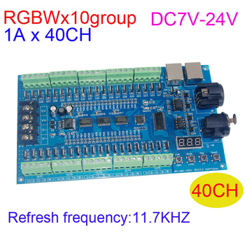 RGBW 40CH DMX512 LED Decoder DC7V-24V 10 Group 16bit 11.7KHZ Refresh frequency 1Ax40 channel RGBW LED Controller dimmer