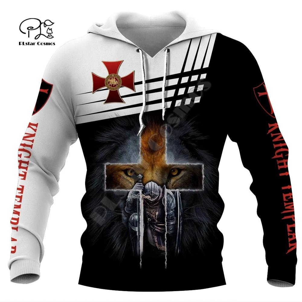 New Men Knights Templar Lion Print 3d Hoodies Funny Soldier Sweatshirt Zipper Jacket Unisex Streetwear Casual Tracksuit Pullover