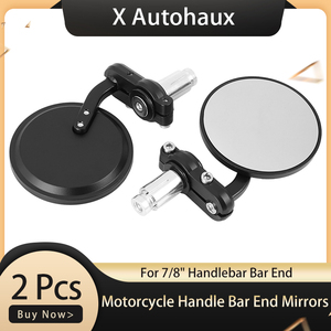 X Autohaux Pair Motorcycle Rearview Mirror Universal for 7/8 Inch Handle Bar End Mirrors 22mm Aluminum Black Side Mirrors Motor(China)