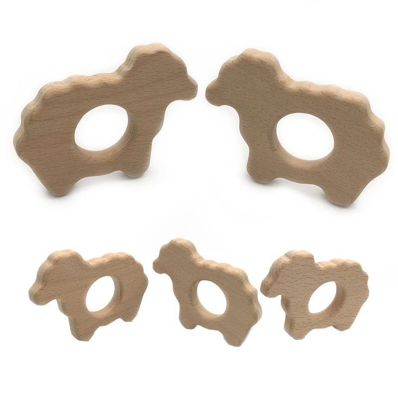 DIY Cartoon Animal Sheep Shape Baby Wooden Teether Food Grade Beech Pacifier Chain 3C Certification Wooden Baby Teether Toy Gift
