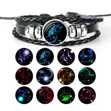 2019 New 12 constellation Time Gem Bracelet Charms Handmade Woven Leather for Men Women Fashion Jewelry Gifts Wholesale