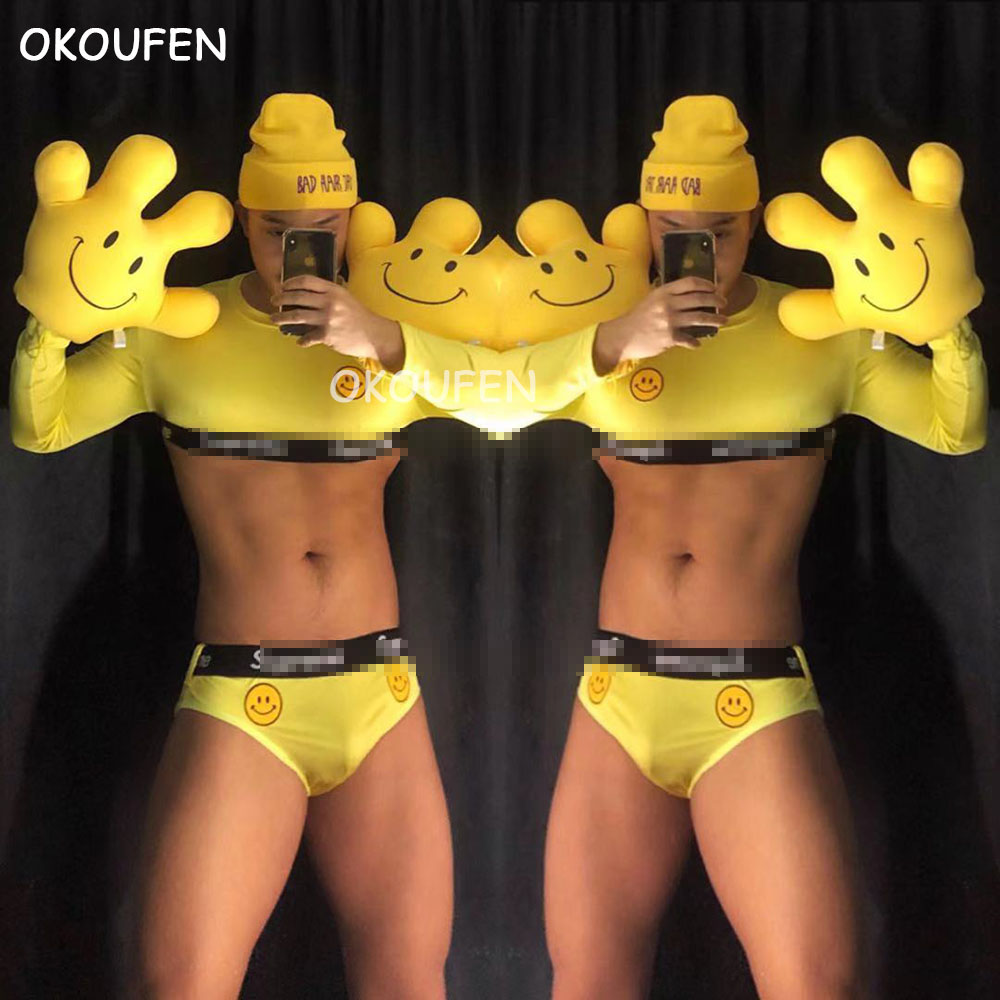 European And American Bar Party Performance Clothes Bar Ds Stage Sexy Show DJ Men And Women Yellow Smile Tide Brand Suit