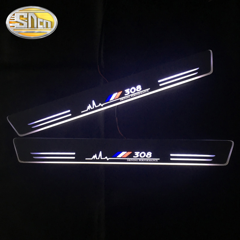 For Peugeot 307 206 308 407 207 3008 208 508 2008 301 408 4008 5008 LED Door Sill Scuff Plate Guards Streamer Dynamic Pedal