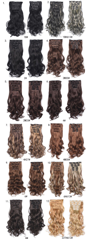 ao calor natural ondulado cabelo pedaço 6 pçs set